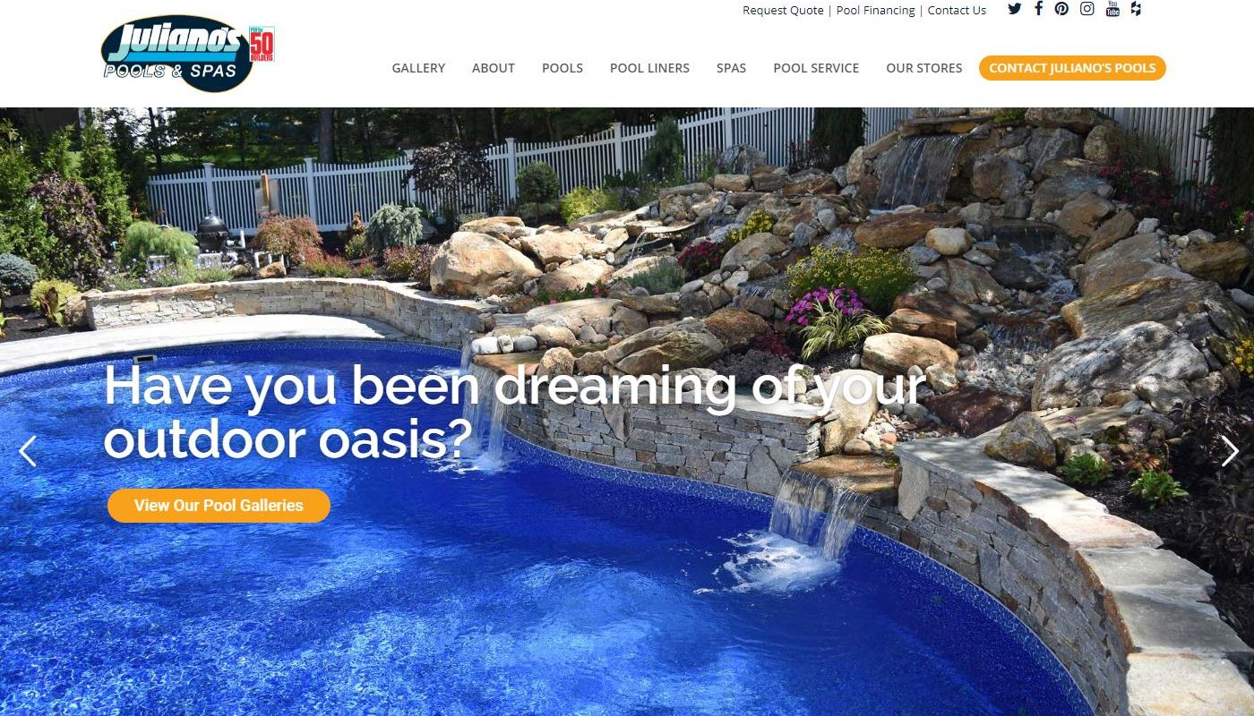 Julianos Pools - Web Design Vernon CT